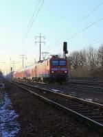 BR 114/178687/114-012-8-mit-dem-re 114 012-8   mit dem RE 3 (RE 18313) nach Elsterwerder am 02. Februar 2012 zwischen Bahnhof Berlin-Lichterfelde Ost und dem Bahnhof  Blankenfelde(Teltow-Fläming) bei km 24.2 auf dem südlichen Berliner Außenring bei Diedersdorf.