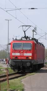 BR 143/134418/kurz-darauf-rueckte-143-333-3-vom Kurz darauf rückte 143 333-3 vom RE 11 kommend ins BW ein und wurde an der Drehscheibe aufgestellt. 17.04.2011